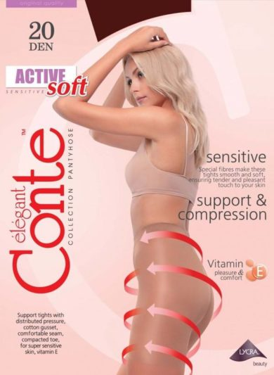 ACTIVE SOFT 20 DEN - thin supportingtights with graded compressions, massage effect,strong top