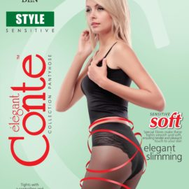 STYLE 20 DEN – fine modelling elastic tights with controlling and slimming panties 90 DEN, flat seam, cotton gusset, reinforced toe.