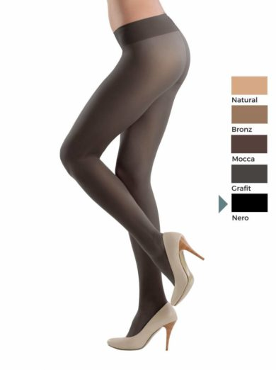 elastic transparent pantyhose with a wide height adjustable belt and Vitamin E for sensitive skin