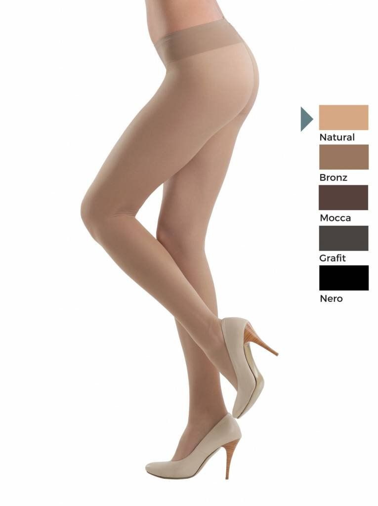 elastic transparent pantyhose with a wide height adjustable belt and Vitamin E for sensitive skin.