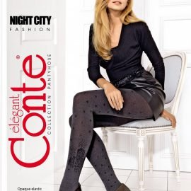 NIGHT CITY -  abstract fashion tights with stars, asymmetric pattern_BellaConte