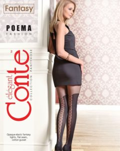 POEMA - 50 den fashion tights with a lace-up effect at the back of the legs BellaConte