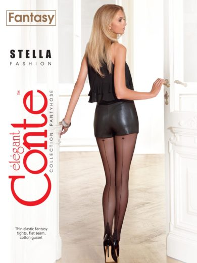"STELLA 20 den fantasy tights with ""backside seam imitation"""