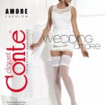 AMORE – fine hold-ups stockings with a flower motif with a transparent look