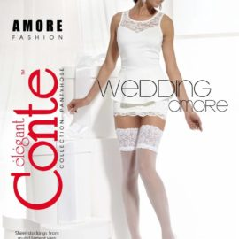 AMORE - fine hold-ups stockings with a flower motif with a transparent look