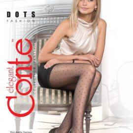 Sheer pantyhose with a polka dot pattern throughout the legs BellaConte