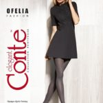 OFELIA – melange fantasy fashion tights in grey colour.