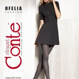 OFELIA - melange fantasy fashion tights in grey colour.