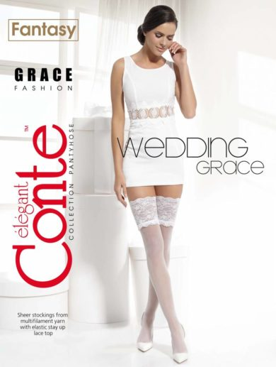 wedding hold-ups stockings with a wide stretch lace band BellaConte