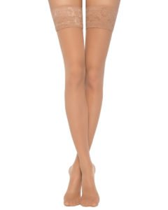 dense hold-ups  40 den appearance with a wide elastic band with flower motif Natural BellaConte