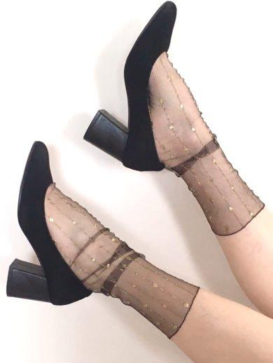 Fashion socks sheer mesh LUREX STRIPED black 1 BellaConte