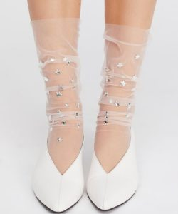 Fashion socks with shine and sparkle Stars Rhinestones