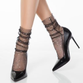 sheer transparent socks with sparkling star and moon pattern BellaConte