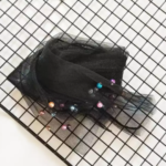 Socks with multi-coloured pearls BellaConte Black