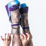 Socks with multi-coloured beads – mesh glitter rhinestone fishnet socks Black BellaConte