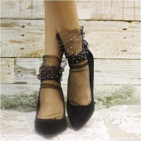 d721f8857cb Fashion Sheer Summer Fancy Glitter Mesh Socks BellaConte