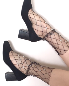 Fashion fishnet socks Rhombus& Rhinestone black