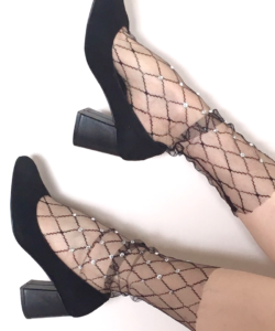 Fashion fishnet socks Rhombus& Rhinestone