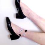 Fashion modern socks sheer mesh FLORAL&PEARL Pink BellaConte