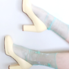 Fashion modern socks sheer mesh FLORAL&PEARL Turquoise BellaConte