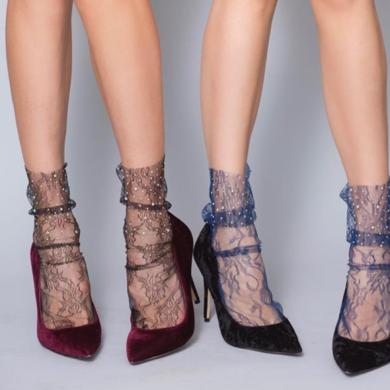 Socks with multi-coloured beads - mesh glitter rhinestone fishnet socks BellaConte