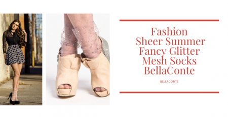 Fashion_ Sheer Summer Fancy Glitter Mesh Socks BellaConte