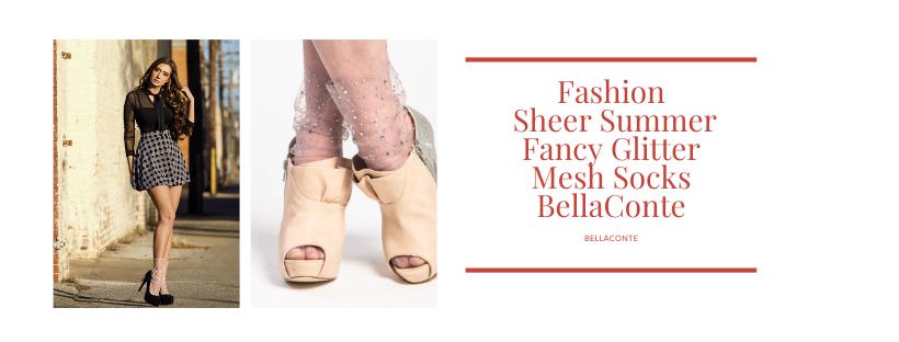Fashion_ Sheer Summer Fancy Glitter Mesh Socks BellaConte