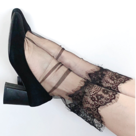 Summer Light Lace Sheer Socks - thin tulle socks with intricate lace detailing at the top BellaConte