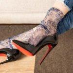 Socks with multi-coloured beads – mesh glitter rhinestone fishnet socks Navy BellaConte