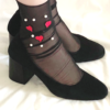 Fashion Black mesh ankle socks with red hearts and white pearls BellaConte 1