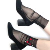 Fashion Black mesh ankle socks with red hearts and white pearls BellaConte