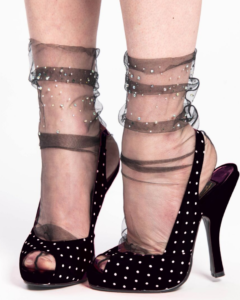 Socks with silver beads - thin mesh fashion socks