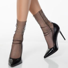 Socks with silver beads - thin mesh fashion socks BellaConte